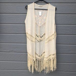 NWT Francesca's boutique boho style crocheted vest